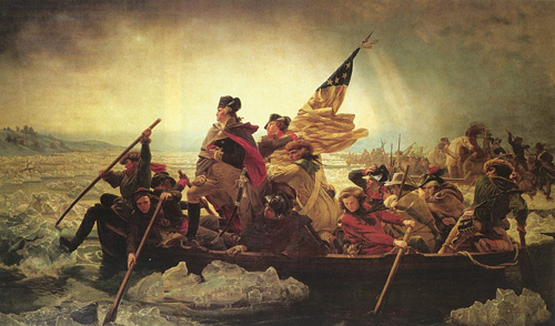 George Washington leading across the Delaware